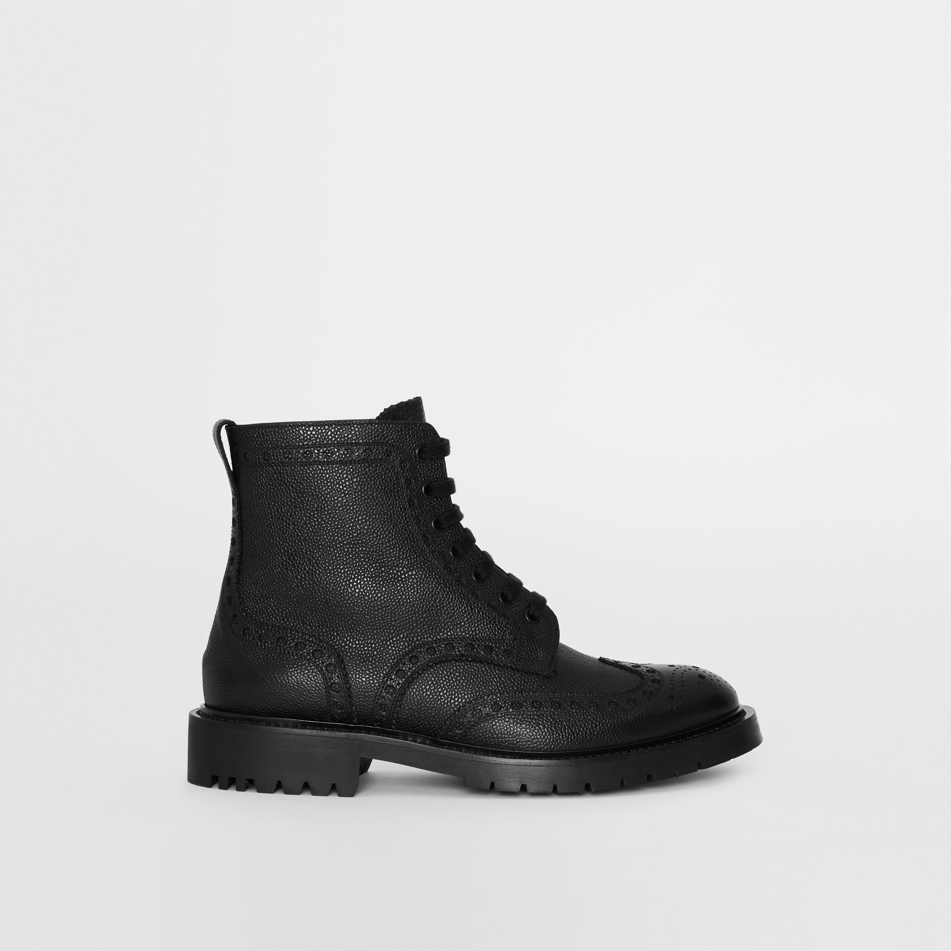 Brogue Detail Grainy Leather Boots in Black - Men | Burberry Singapore - gallery image 5