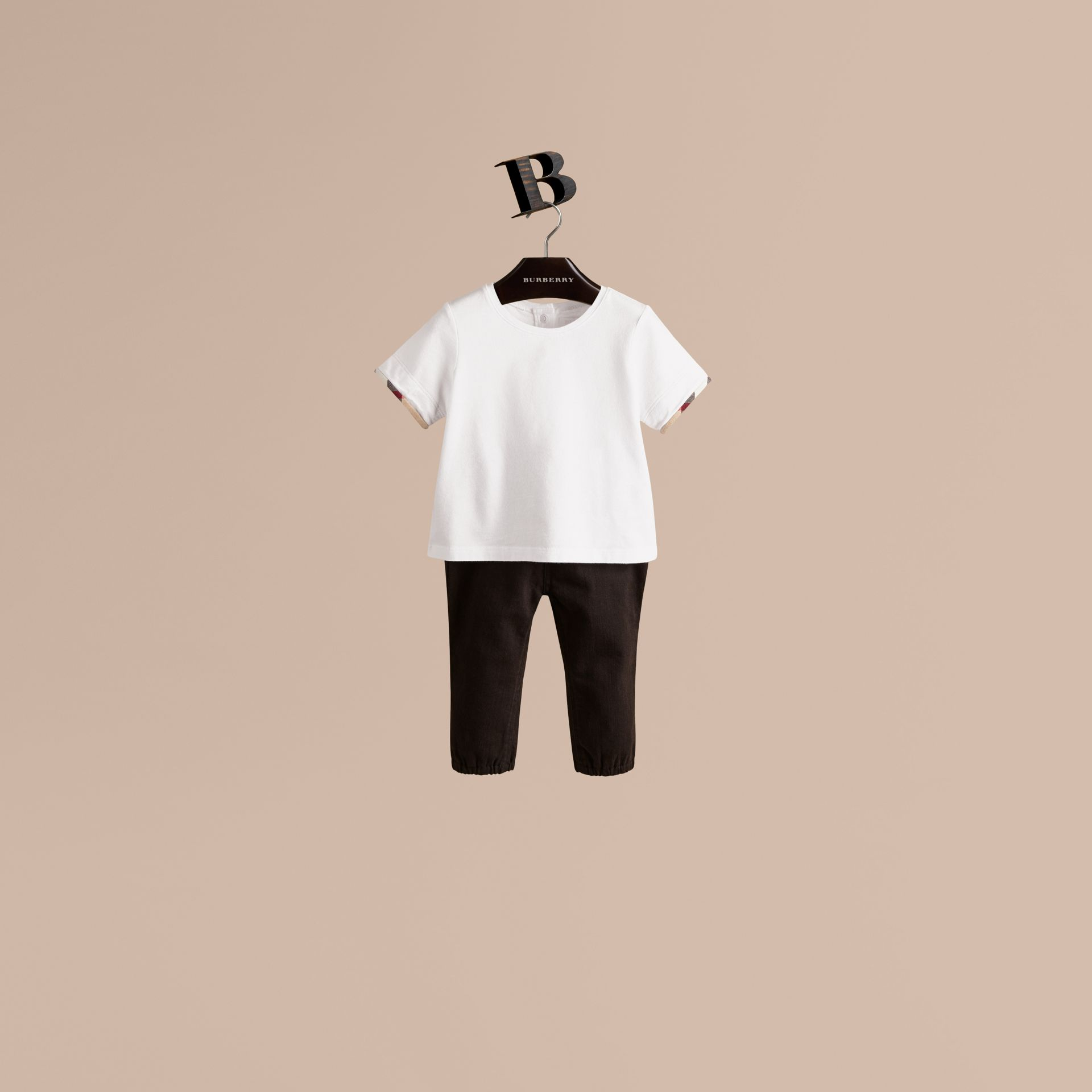 Check Cuff Cotton T-Shirt in White - Girl | Burberry - gallery image 1