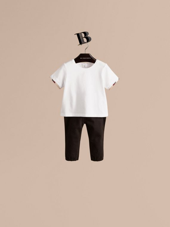 T-shirt in cotone con polsini check - Bambina | Burberry