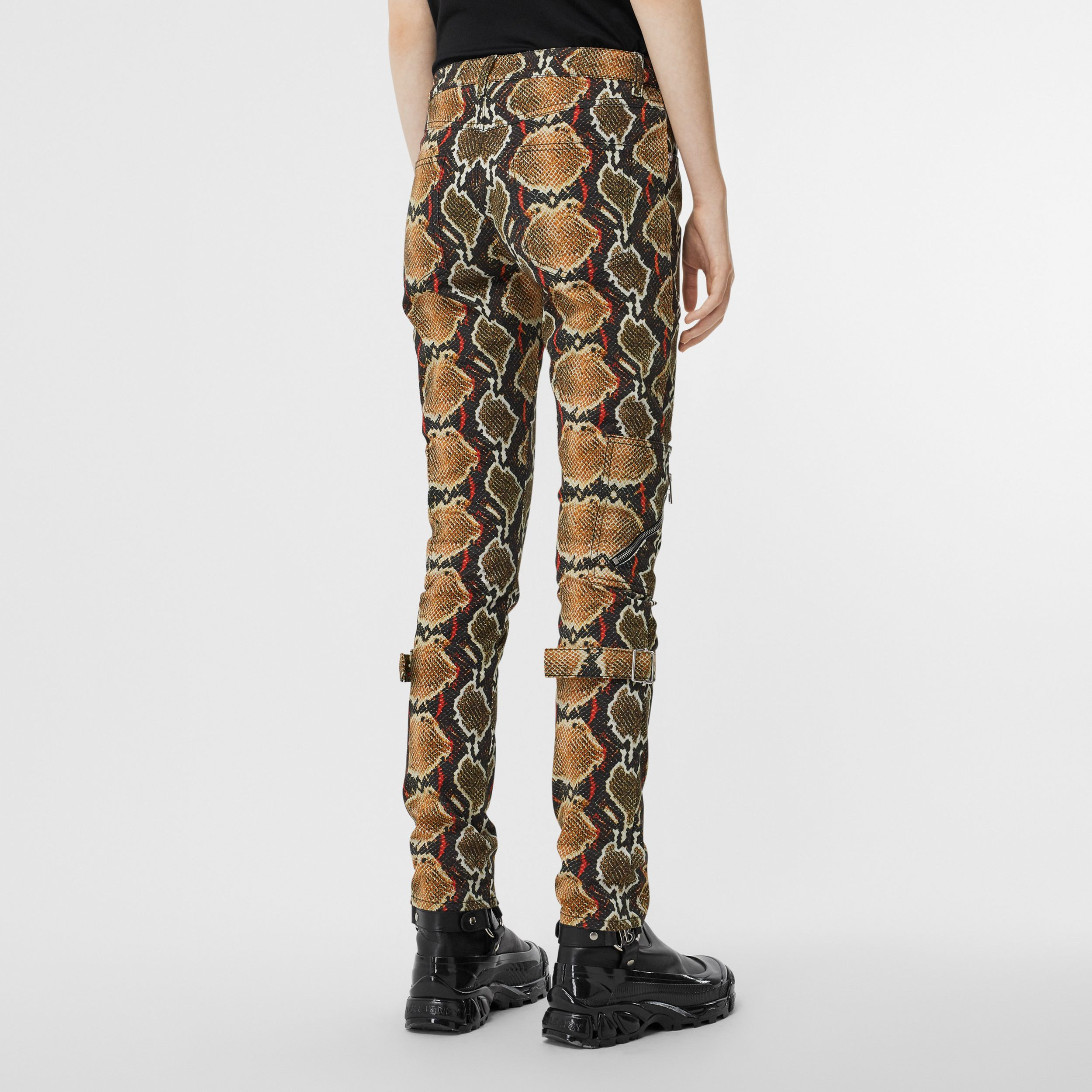 Skinny Fit Python Print Jeans in Soft Cocoa - Women | Burberry - 3