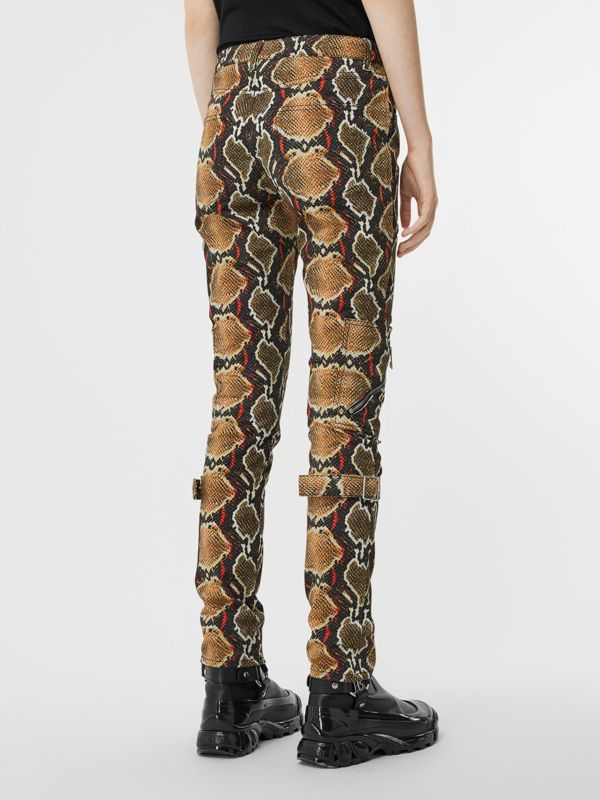 Skinny Fit Python Print Jeans in Soft Cocoa - Women | Burberry - cell image 2