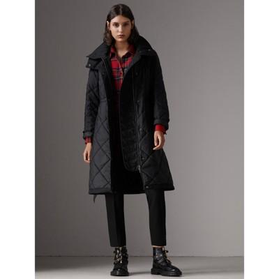 Manteau matelassé avec capuche repliable Noir Femme