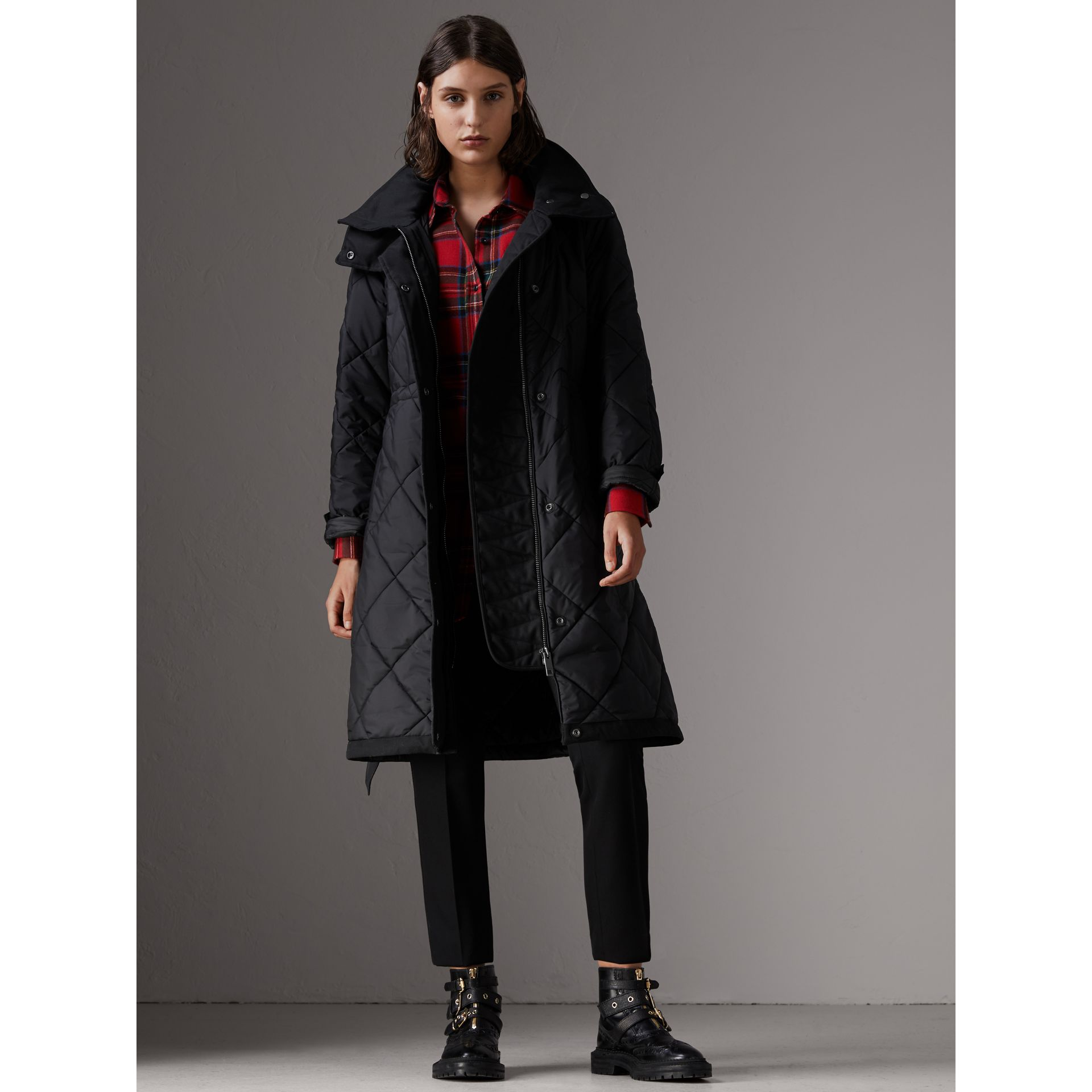 Packaway Hood Diamond Quilted Coat in Black - Women | Burberry - gallery image 6
