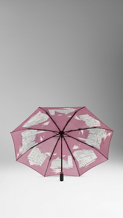 Cherry pink Hong Kong Landmarks Folding Umbrella - Image 2
