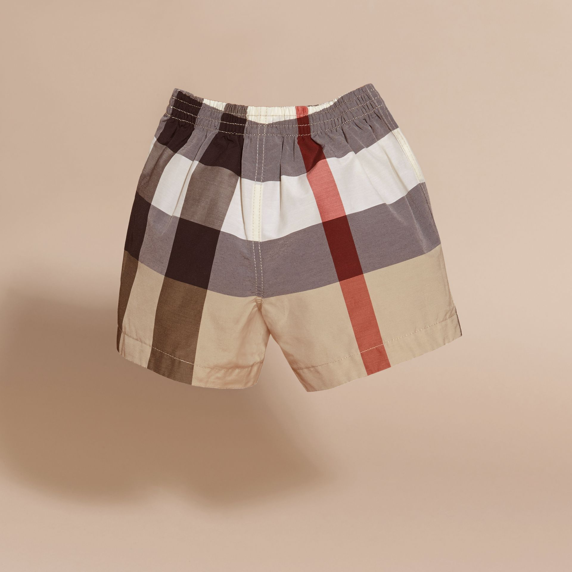 Check Technical Cotton Swim Shorts in New Classic | Burberry - gallery image 4