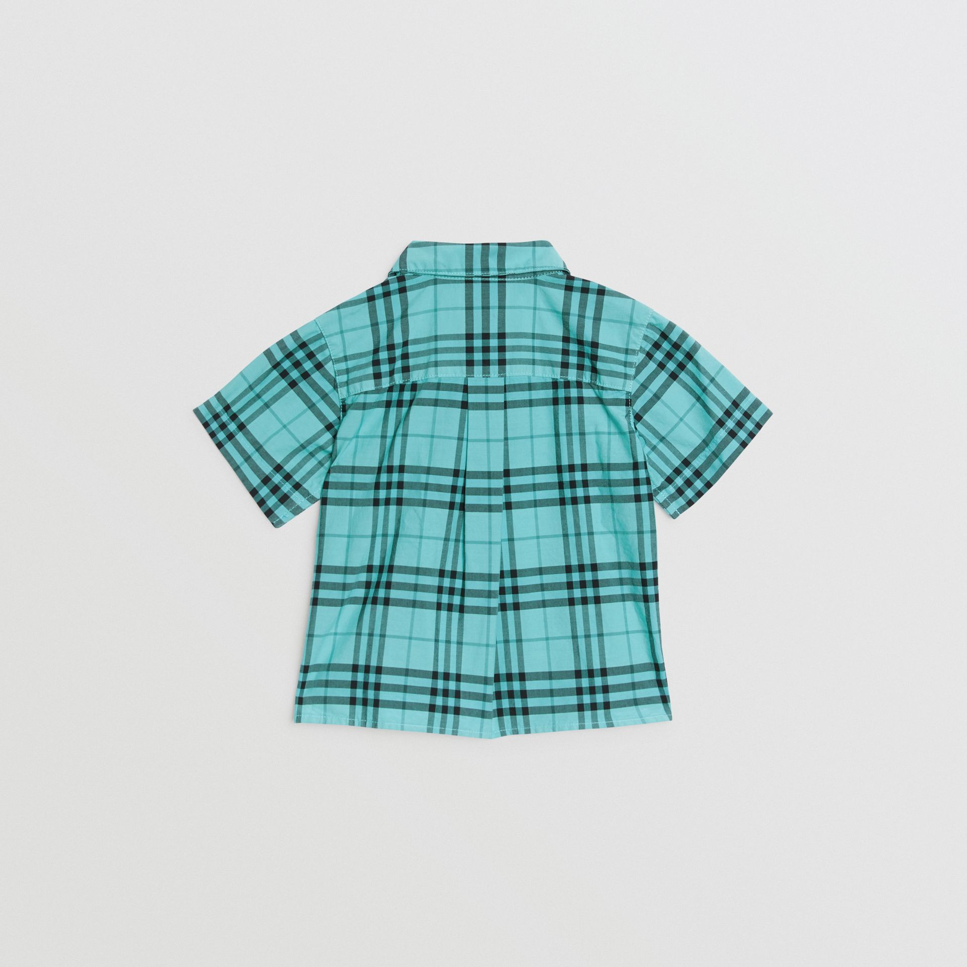 Short-sleeve Check Cotton Shirt in Light Mint - Children | Burberry United Kingdom - gallery image 3
