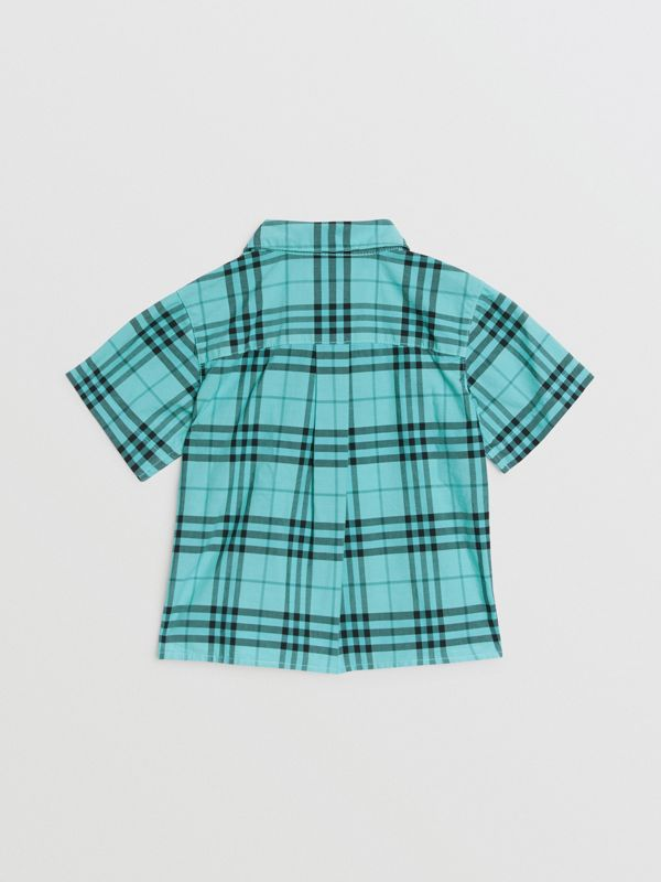 Short-sleeve Check Cotton Shirt in Light Mint - Children | Burberry United Kingdom - cell image 3