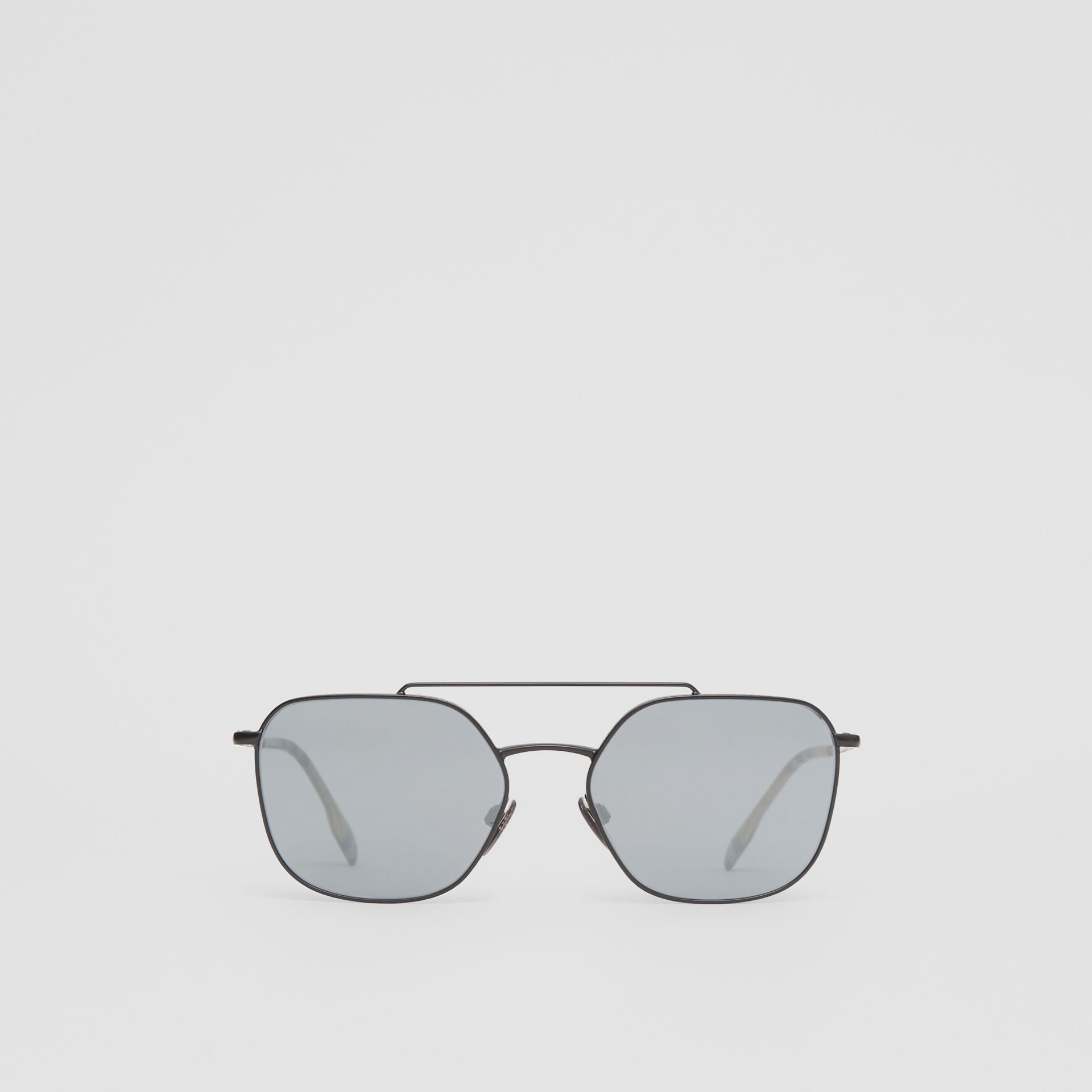 Top Bar Detail Square Pilot Sunglasses in Matt Black - Men | Burberry - gallery image 0