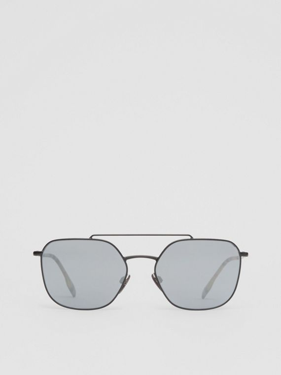Top Bar Detail Square Pilot Sunglasses in Matt Black