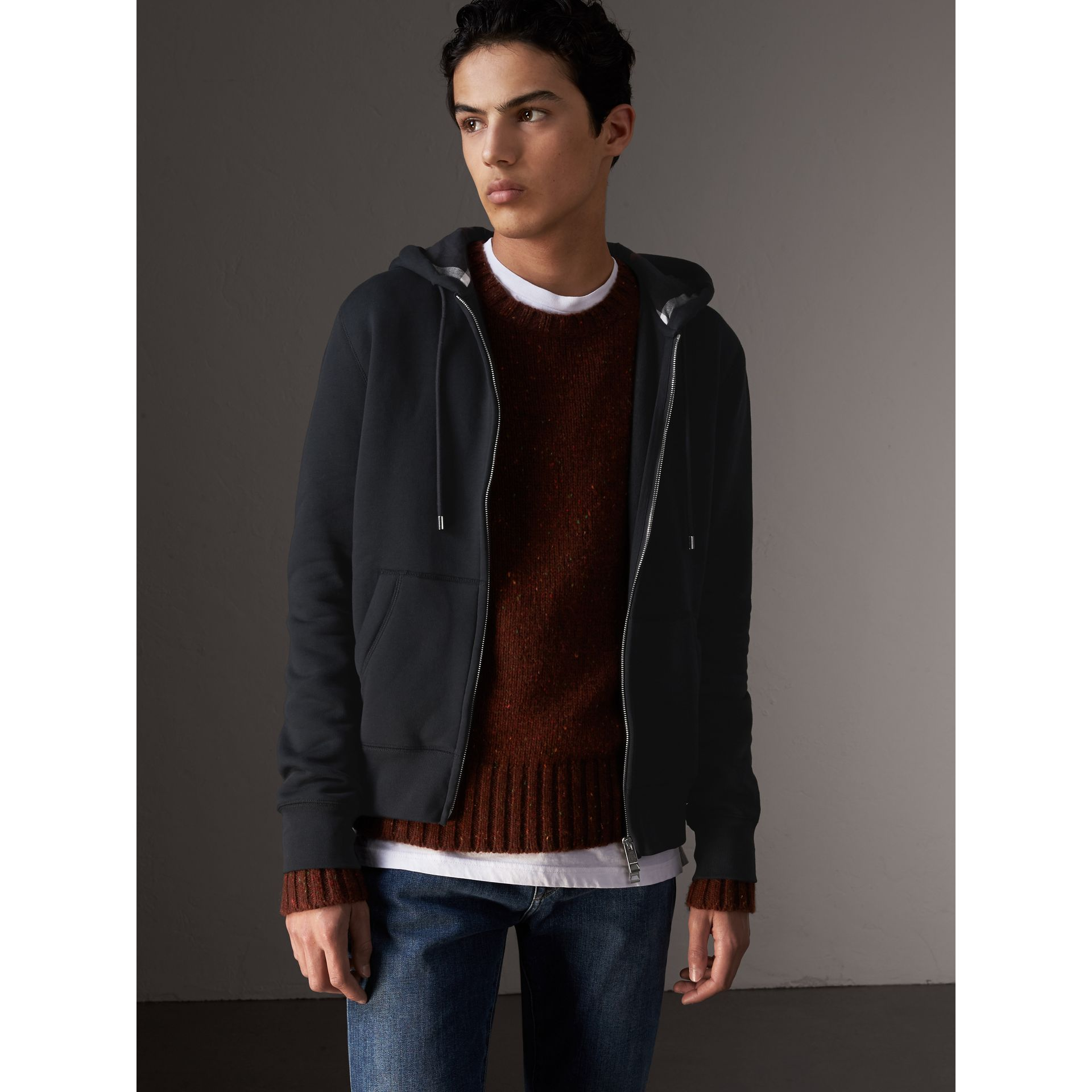 Hooded Cotton Jersey Top in Navy - Men | Burberry - gallery image 1