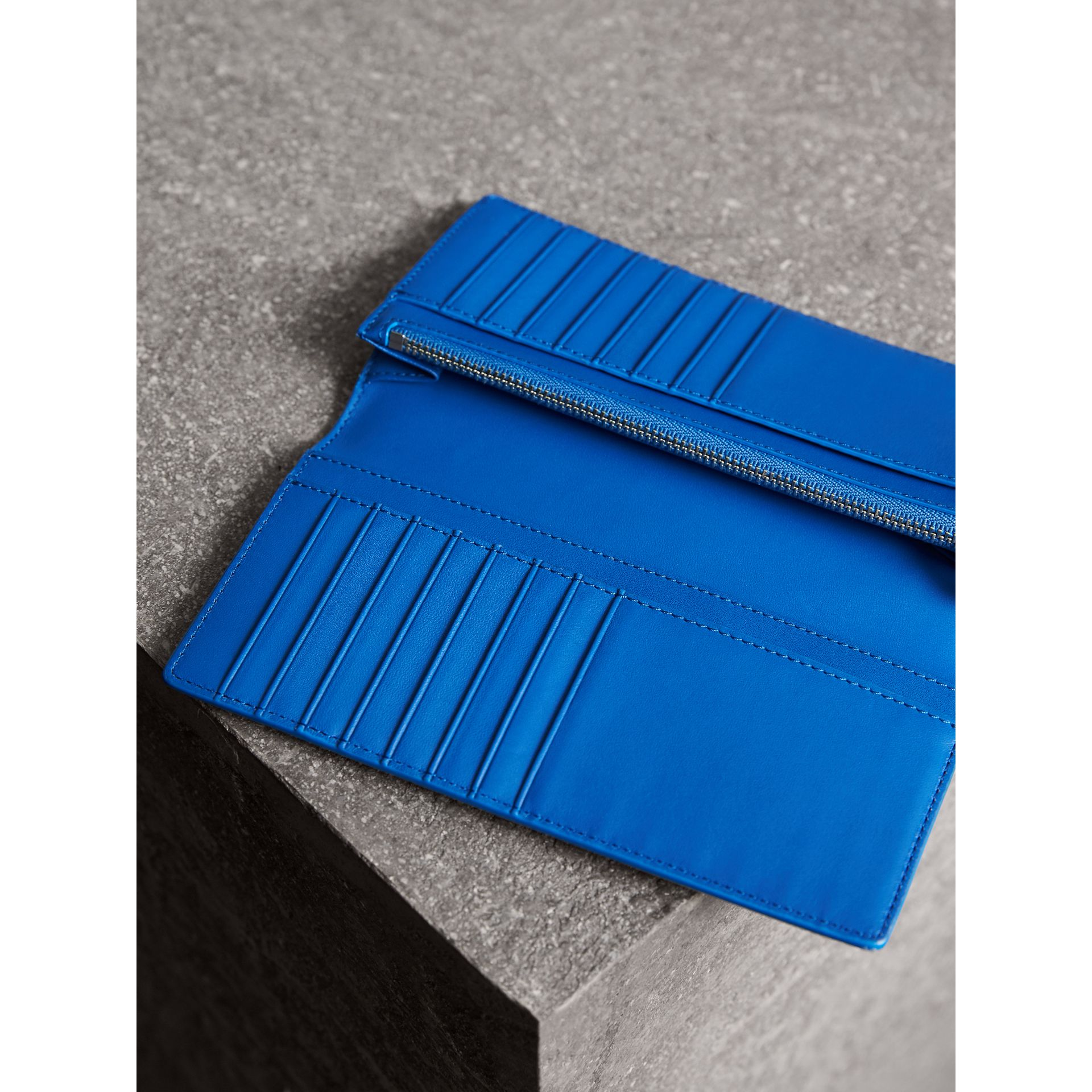 London Check and Leather Continental Wallet in Navy/ Blue - Men | Burberry United Kingdom - gallery image 3