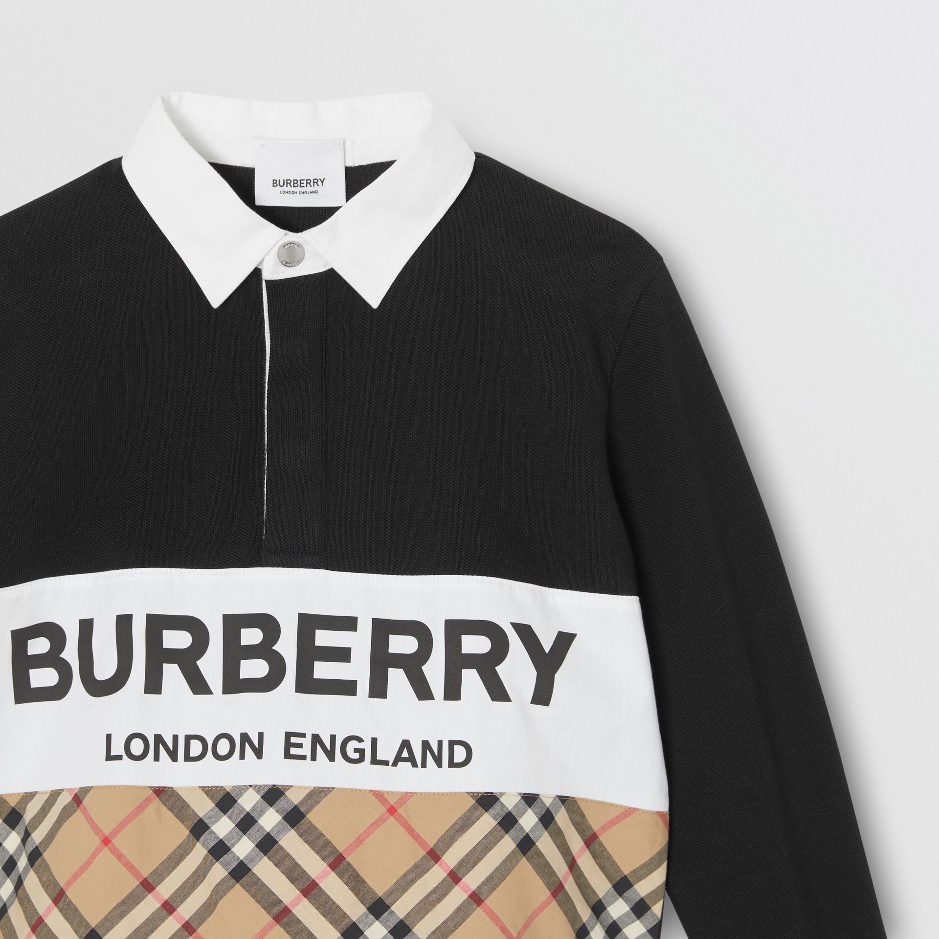 Long-sleeve Logo Print Check Panel Polo Shirt in Black | Burberry - gallery image 4