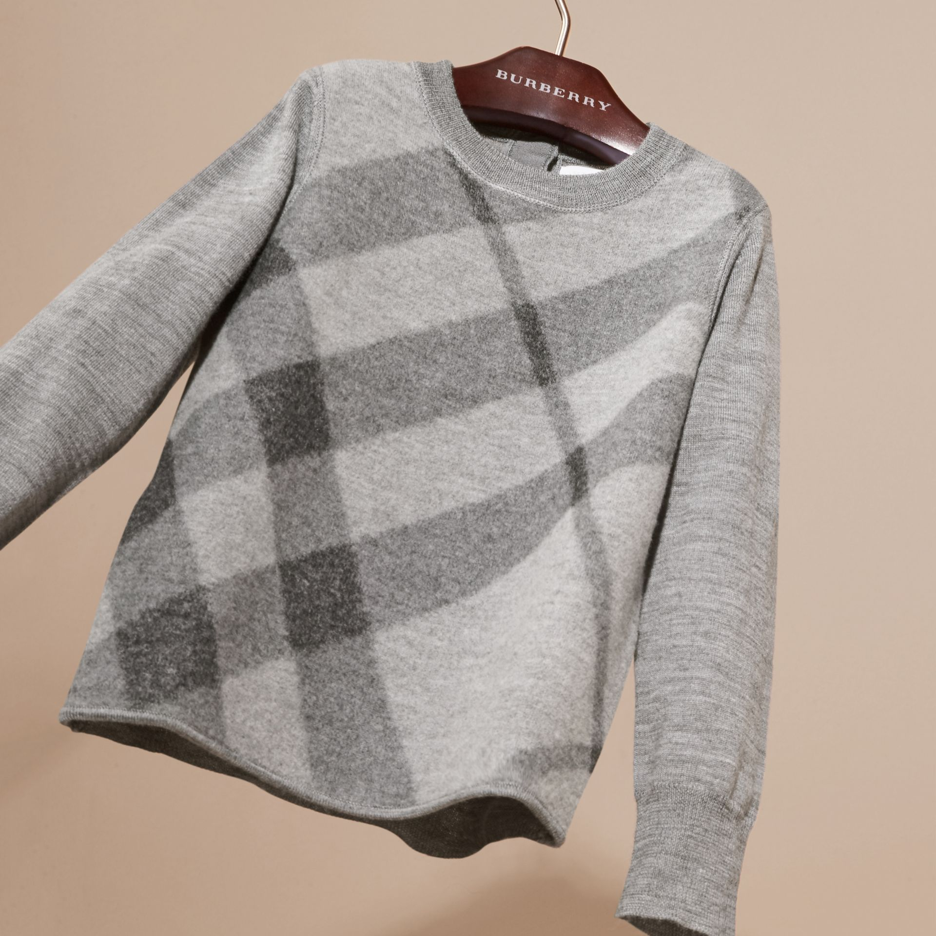 Mid grey melange Needle-punch Check Merino Wool Jumper - gallery image 3