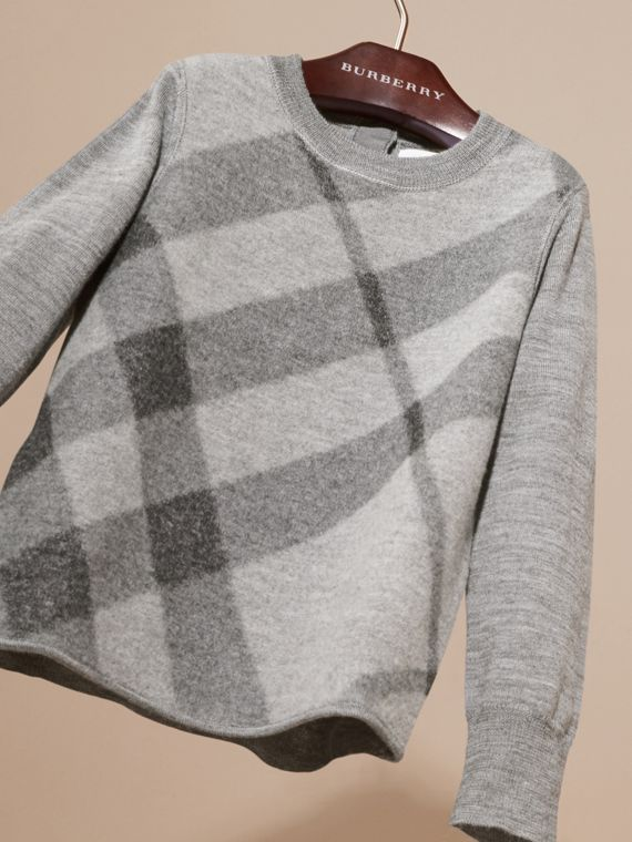 Mid grey melange Needle-punch Check Merino Wool Jumper - cell image 2