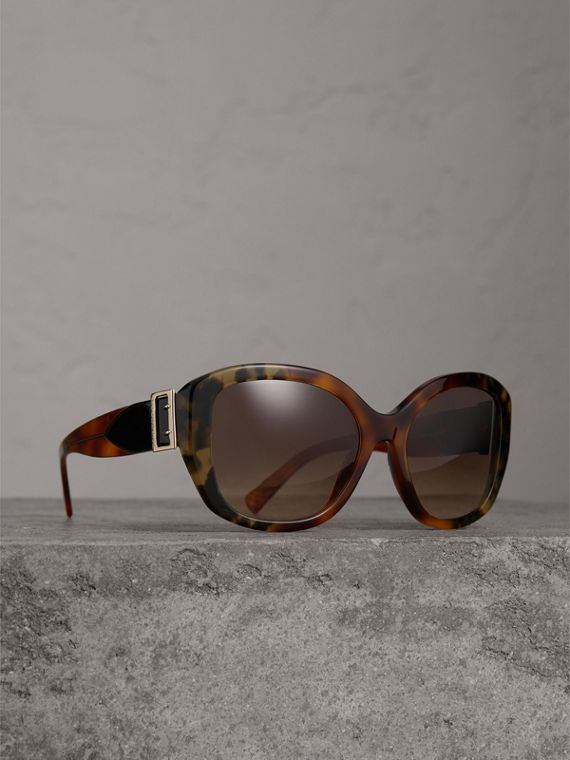 Buckle Detail Oversize Square Frame Sunglasses in Dark Ochre