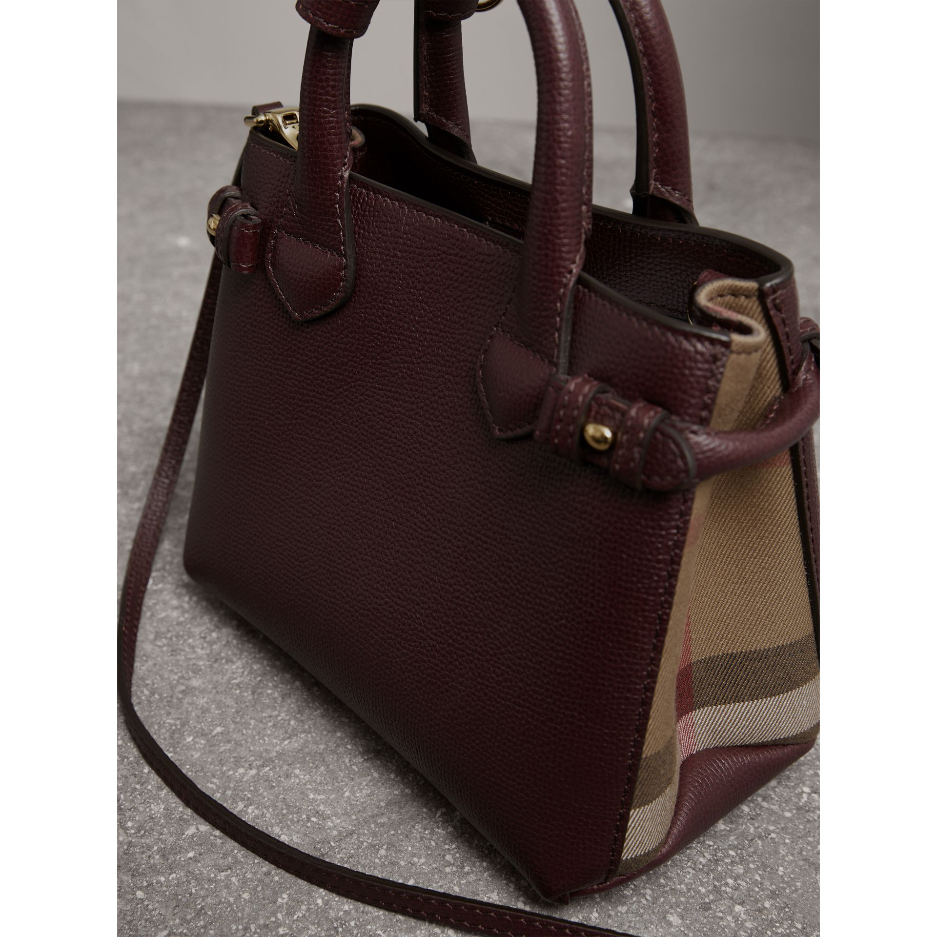 The Baby Banner in Leather and House Check in Mahogany Red - Women | Burberry - gallery image 4