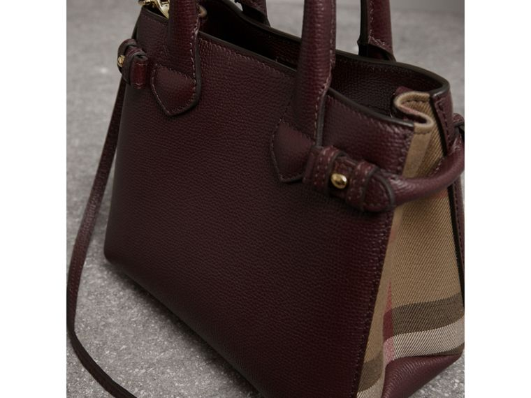 The Baby Banner in Leather and House Check in Mahogany Red - Women | Burberry - cell image 4