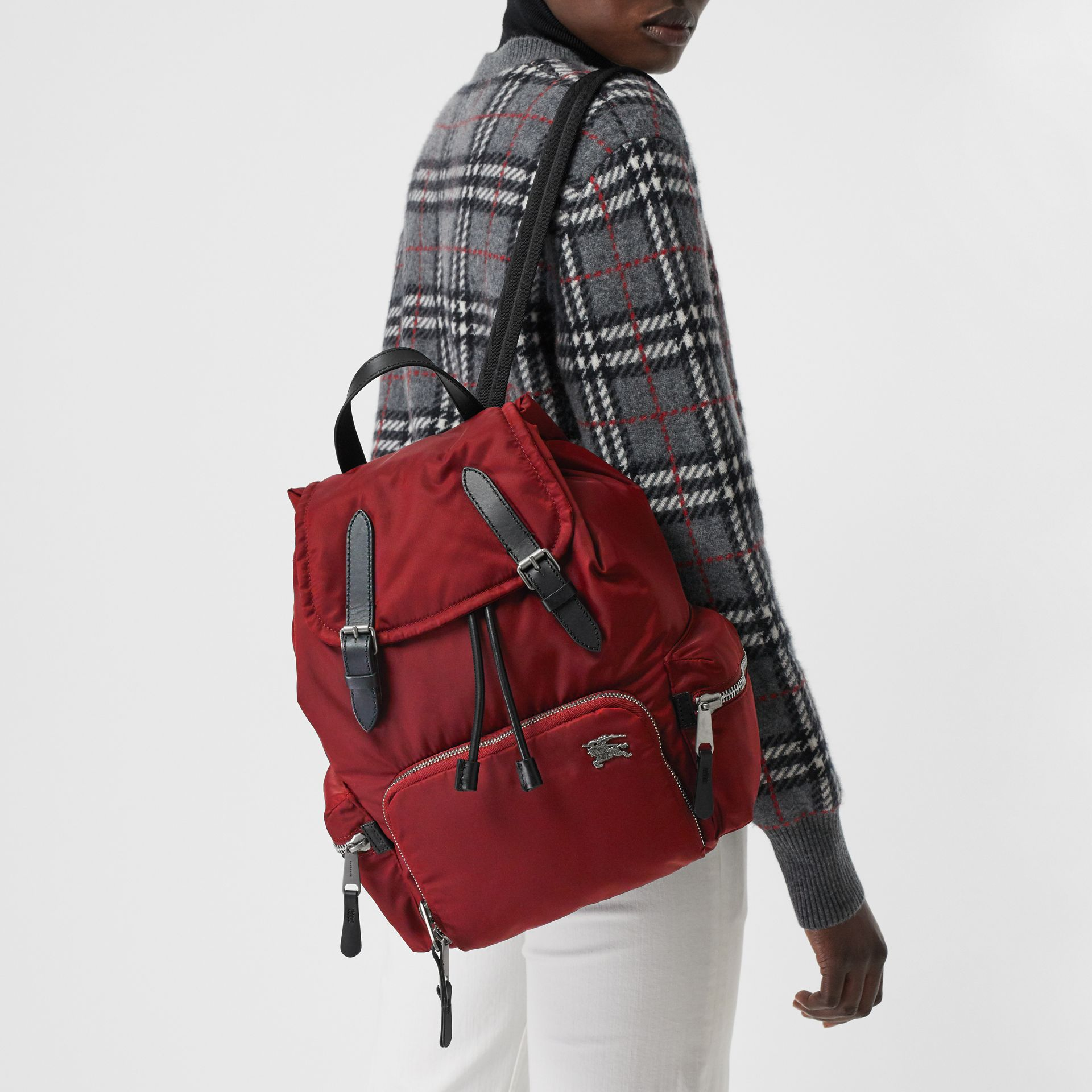 The Medium Rucksack in Nylon and Leather in Burgundy Red - Women | Burberry United Kingdom - gallery image 5