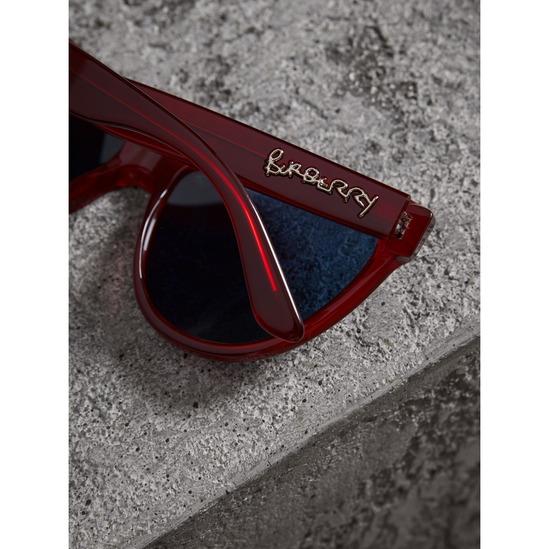 Doodle Cat-eye Frame Sunglasses in Cardinal Red - Women | Burberry Australia - gallery image 1