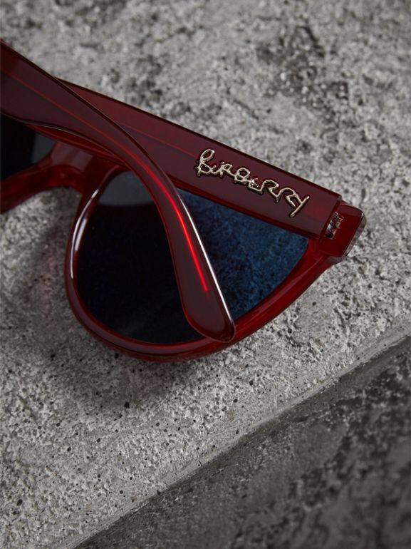 Doodle Cat-eye Frame Sunglasses in Cardinal Red - Women | Burberry - cell image 1