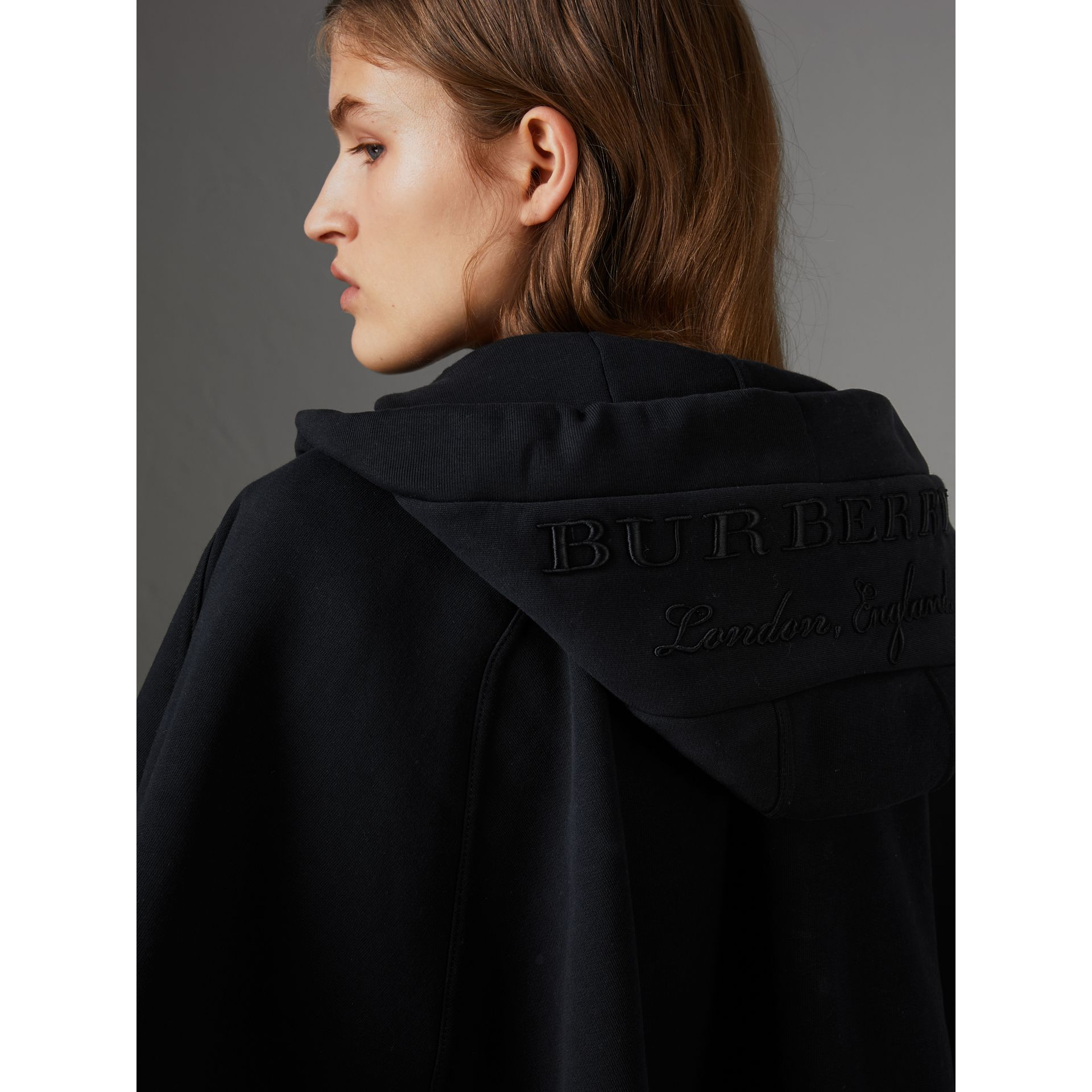 Embroidered Jersey Hooded Cape in Black | Burberry Australia - gallery image 1