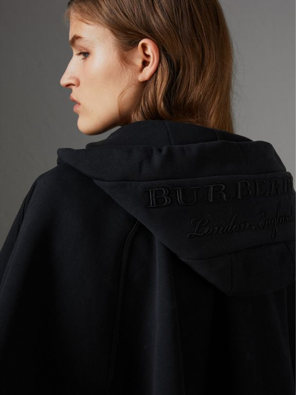 Embroidered Jersey Hooded Cape in Black | Burberry United Kingdom - cell image 1