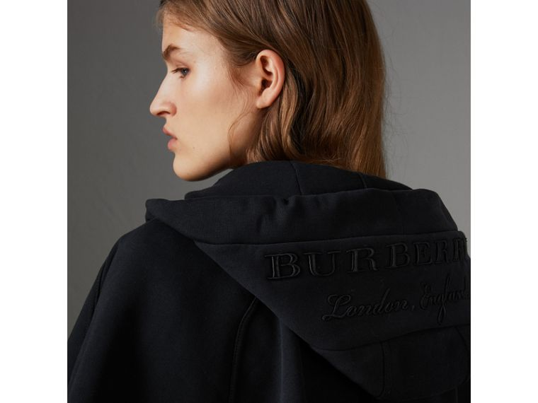 Embroidered Jersey Hooded Cape in Black | Burberry Australia - cell image 1