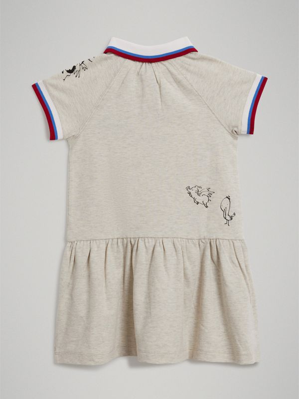 Stretch Cotton Polo Dress in White Melange - Girl | Burberry - cell image 3