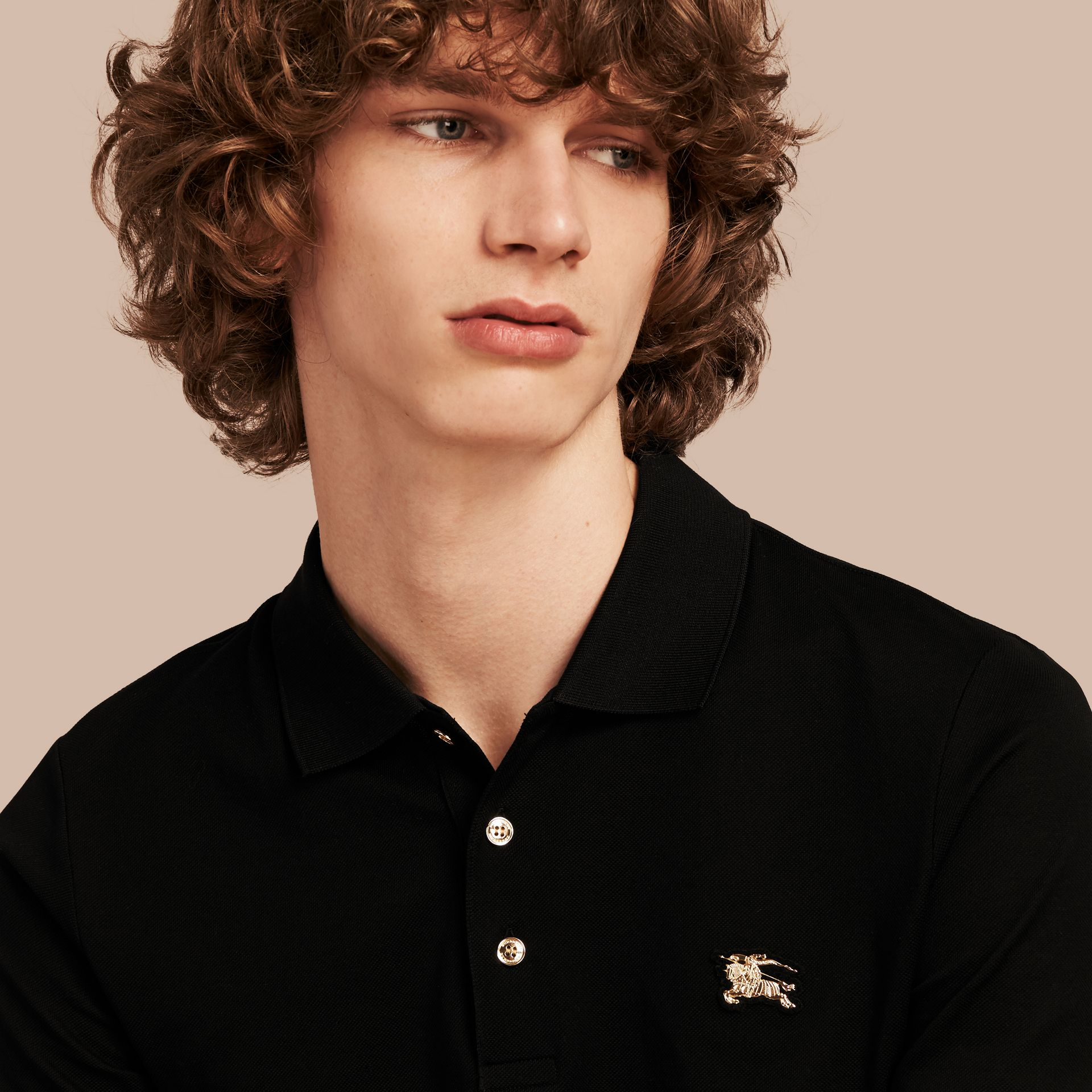 Cotton Piqué Polo Shirt in Black - Men | Burberry - gallery image 5