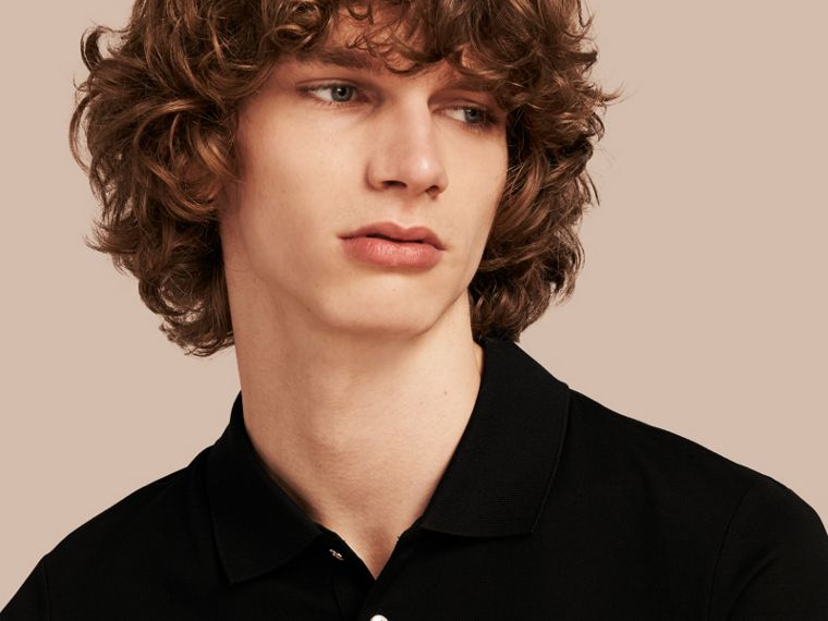 Cotton Piqué Polo Shirt in Black - Men | Burberry Australia - cell image 4
