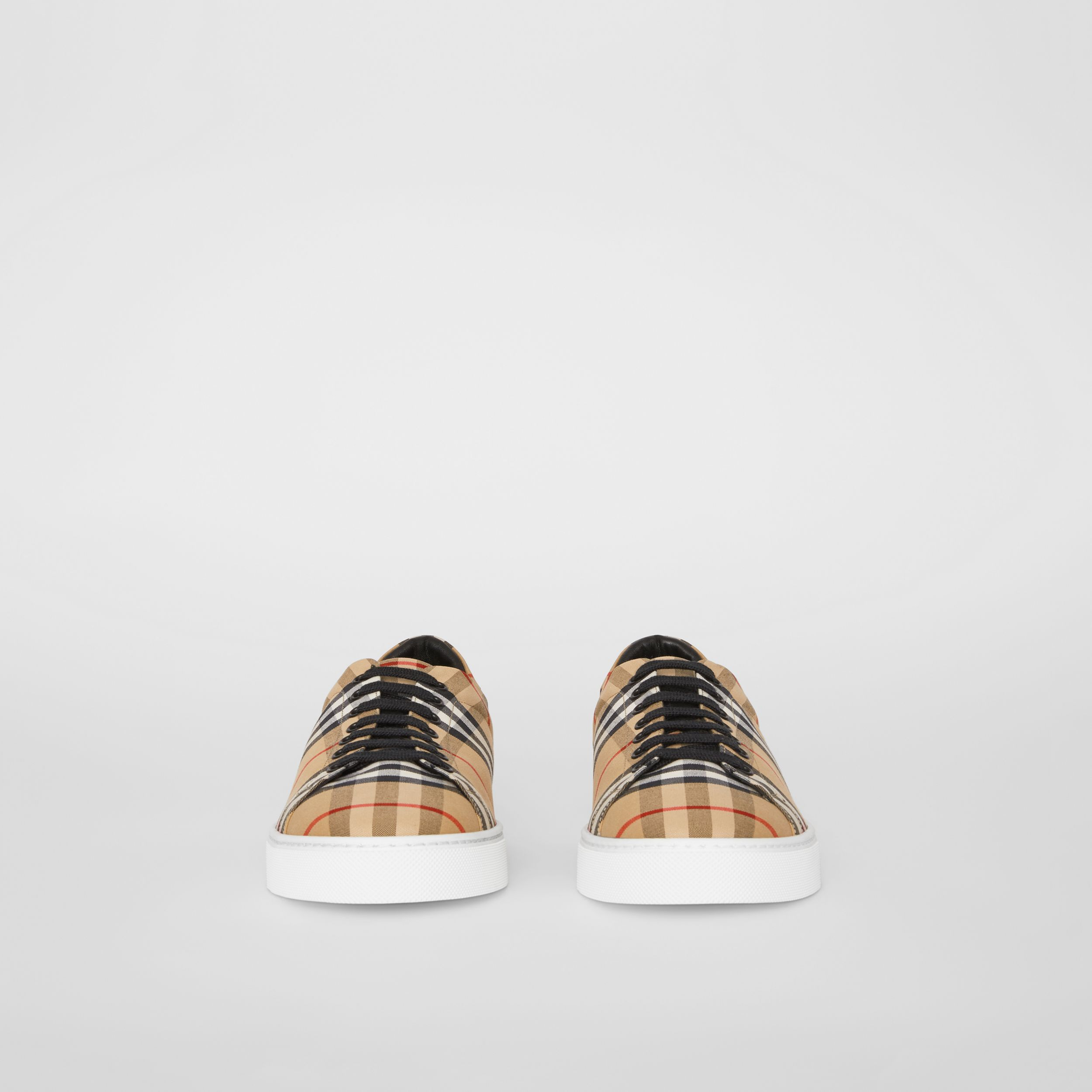 Vintage Check and Leather Sneakers in Antique Yellow - Men | Burberry Australia - 4