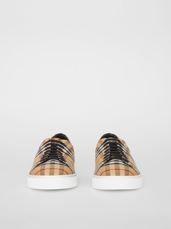 Vintage Check and Leather Sneakers in Antique Yellow - Men | Burberry Canada - cell image 3