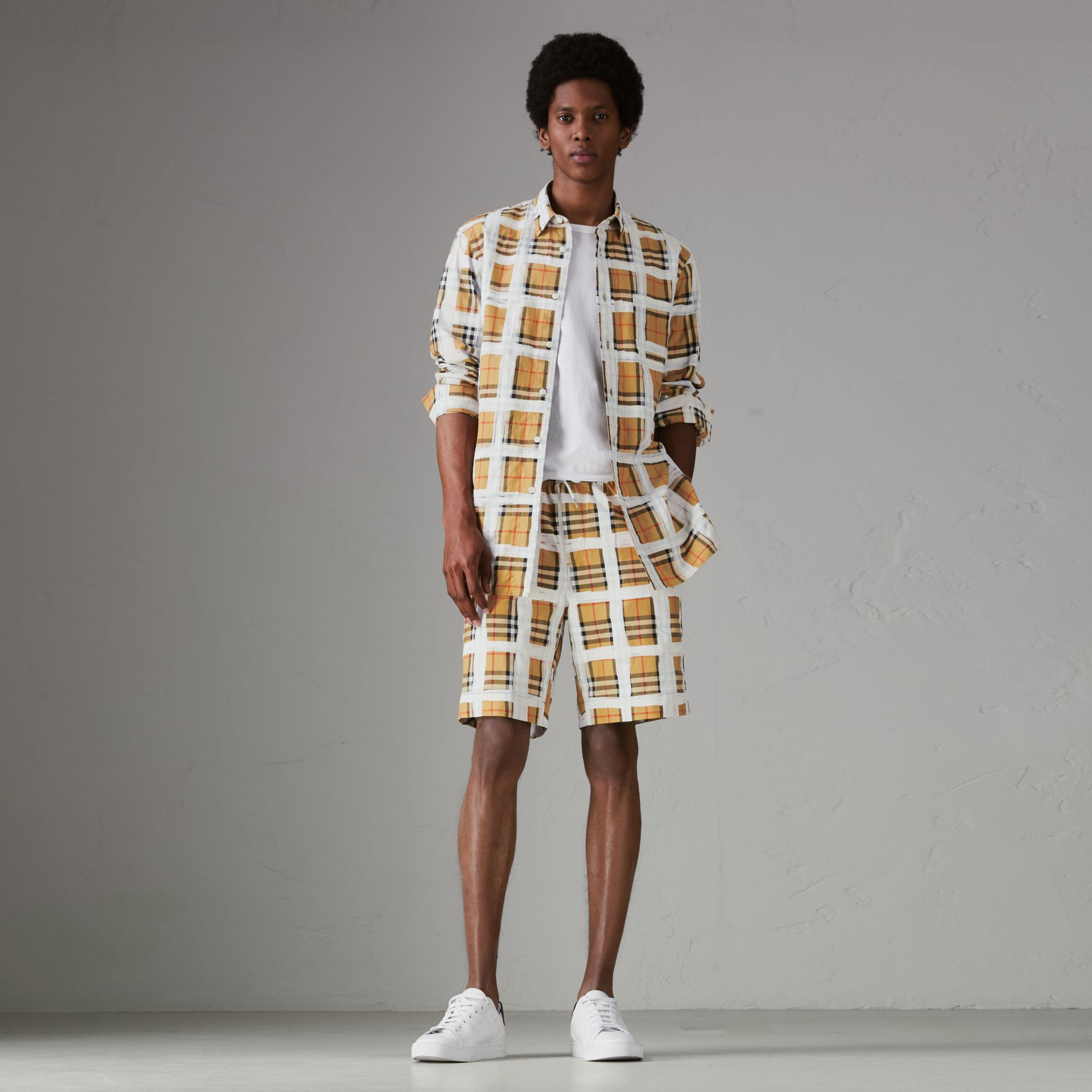 Painted Vintage Check Cotton Drawcord Shorts in Antique Yellow - Men | Burberry - gallery image 0