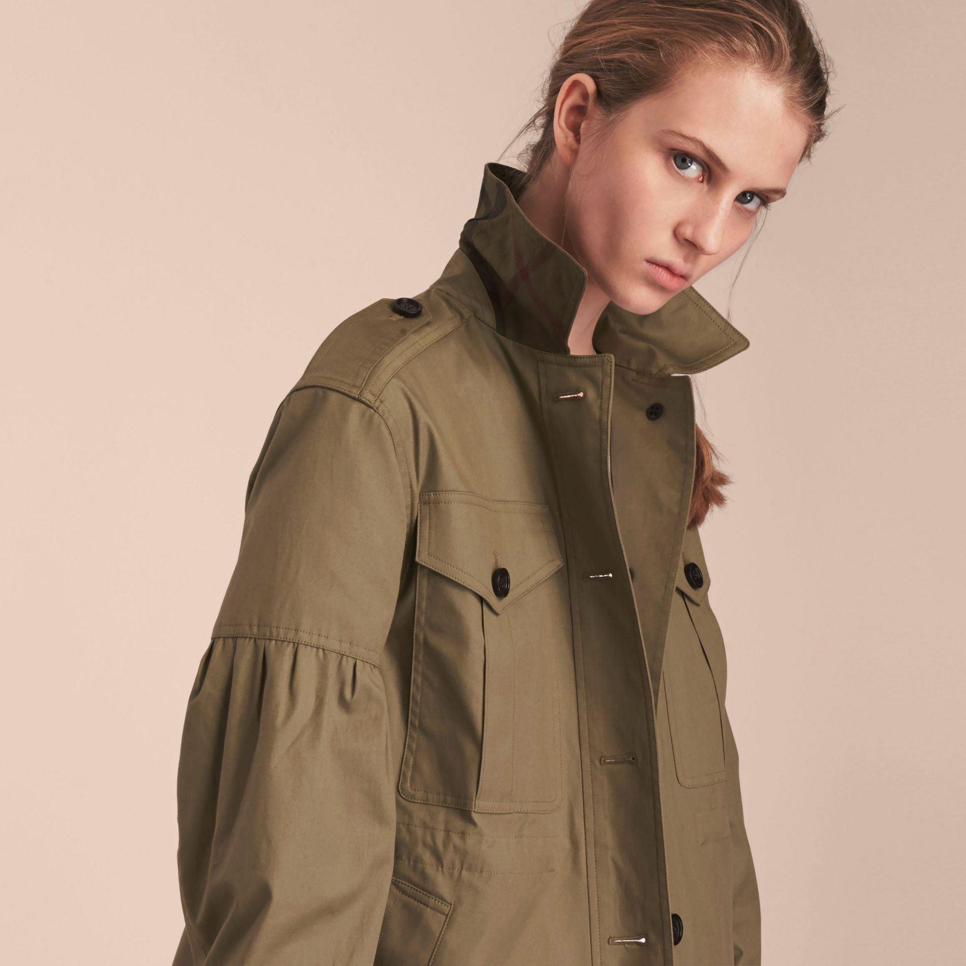 Sage Stretch Cotton Field Jacket with Puff Sleeves - gallery image 5