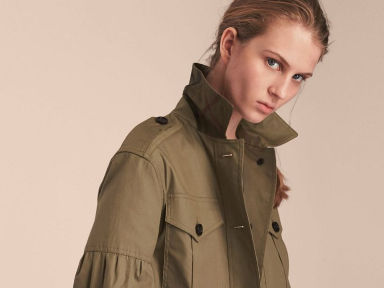Sage Stretch Cotton Field Jacket with Puff Sleeves - cell image 4