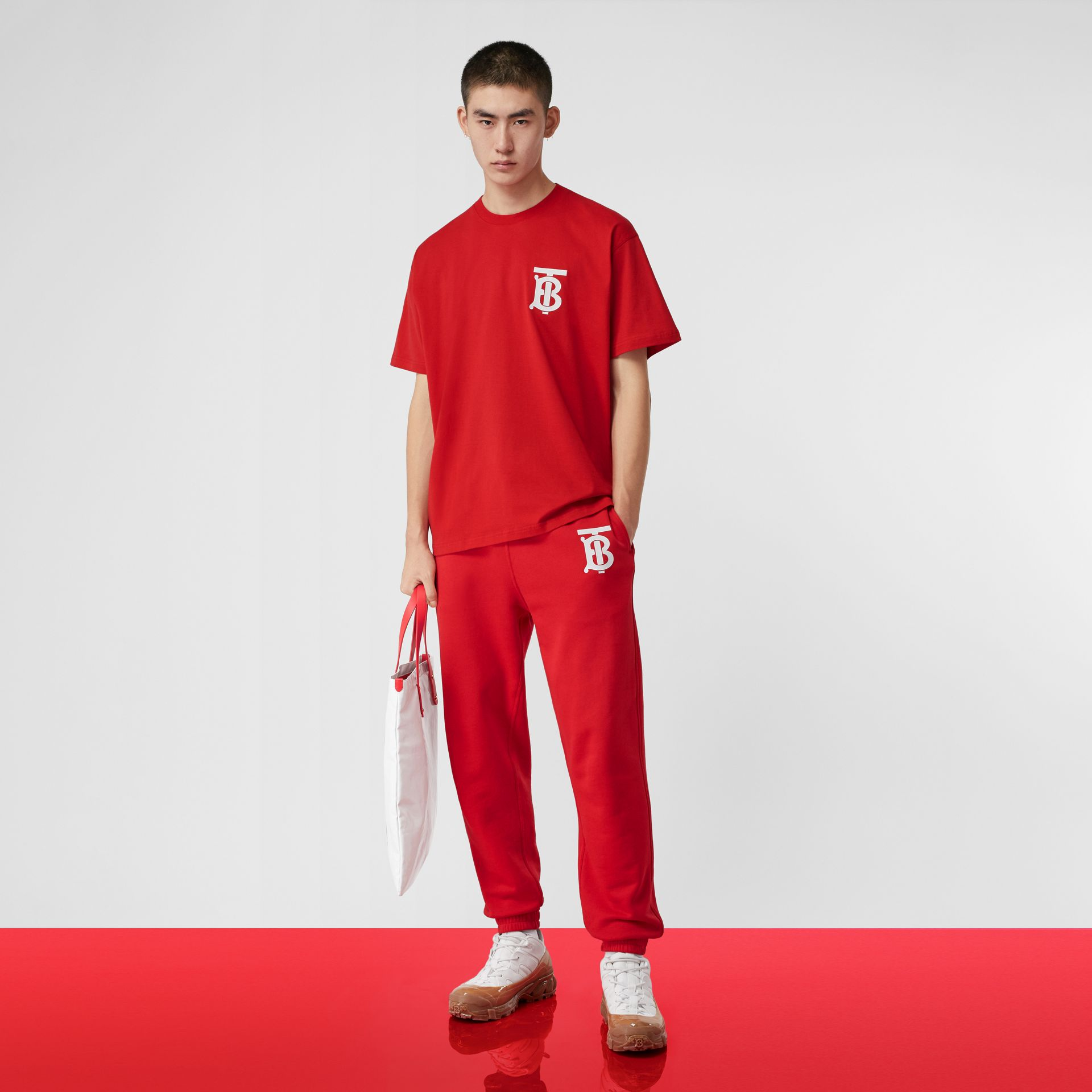 Monogram Motif Cotton Oversized T-shirt in Bright Red - Men | Burberry United States - gallery image 5