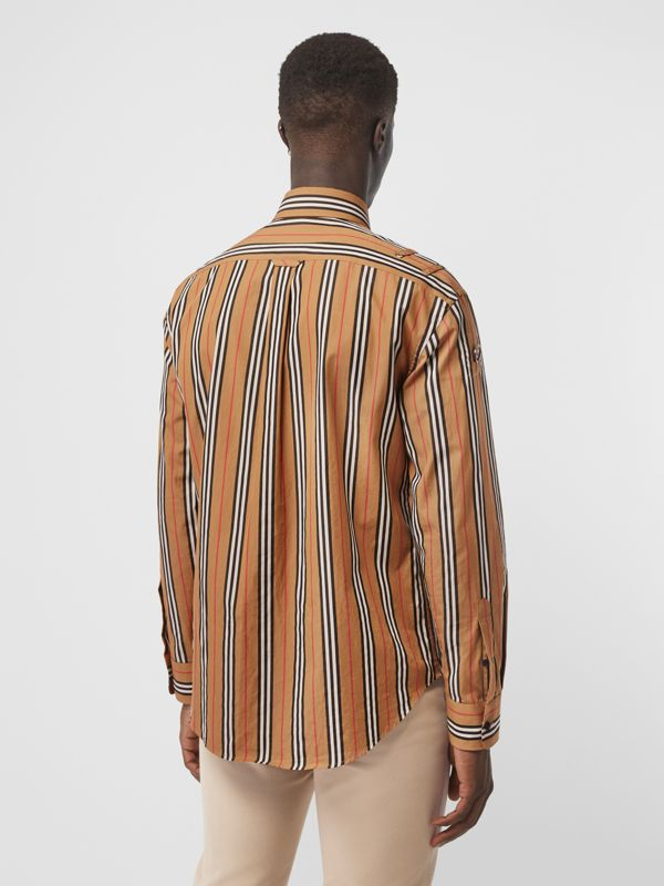 Icon Stripe Cotton Shirt in Antique Yellow - Men | Burberry Canada - cell image 2