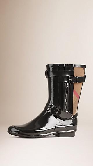 Stivali da pioggia con cinturino e motivo check