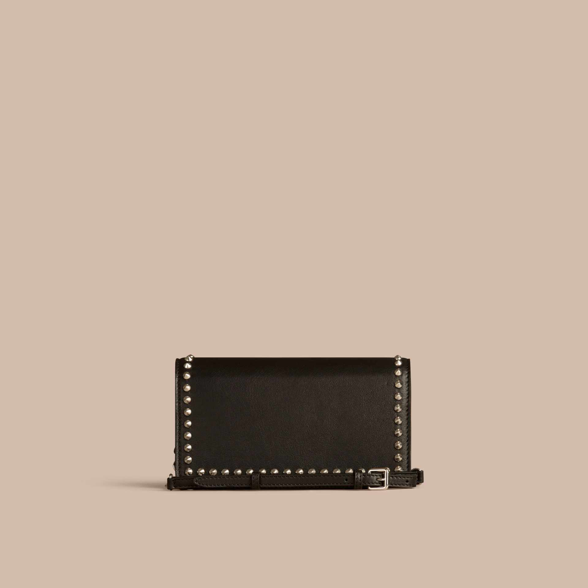 Black Studded Leather Clutch Bag with Chain - gallery image 5