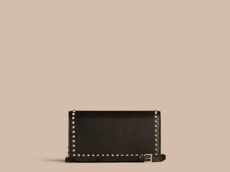 Black Studded Leather Clutch Bag with Chain - cell image 4