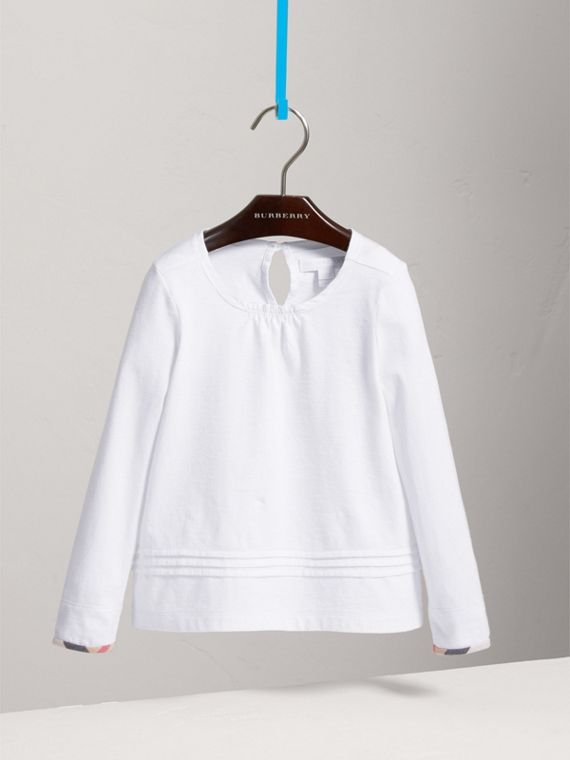 Long-sleeve Pleat and Check Detail Cotton T-shirt in White