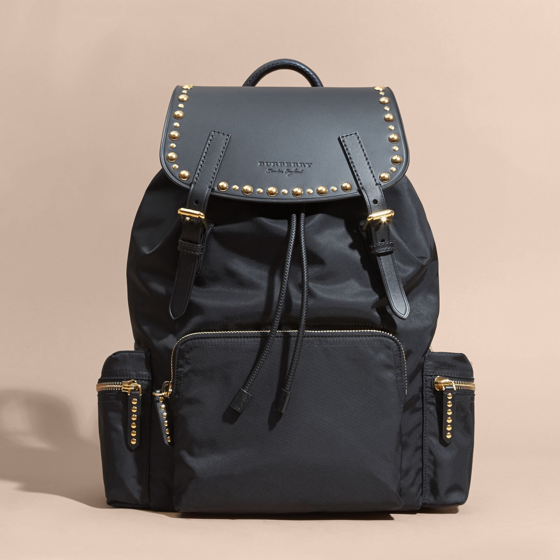 Black The Large Rucksack in Nylon and Riveted Leather - gallery image 8