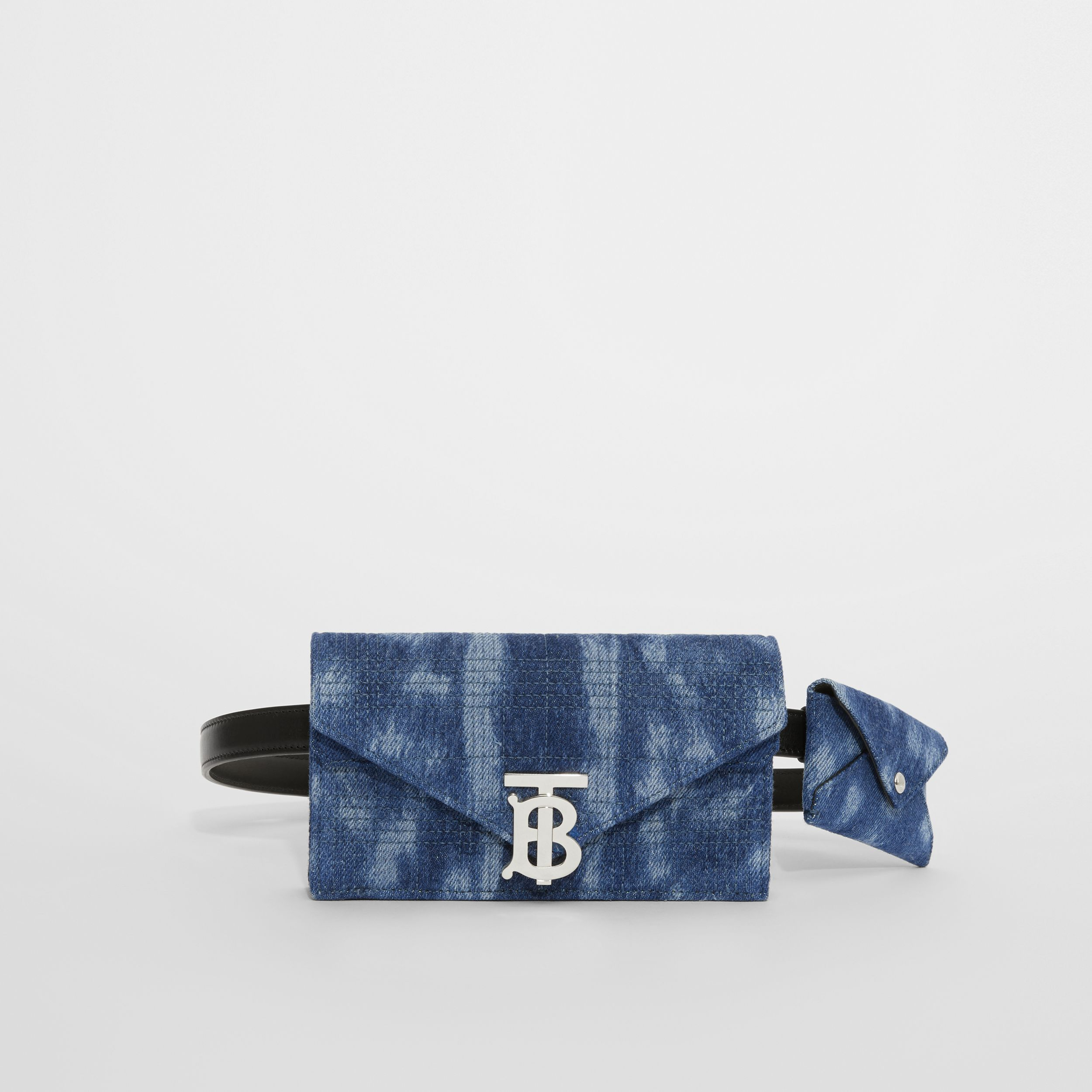 Belted Quilted Denim TB Envelope Clutch in Blue - Women | Burberry Canada - 1