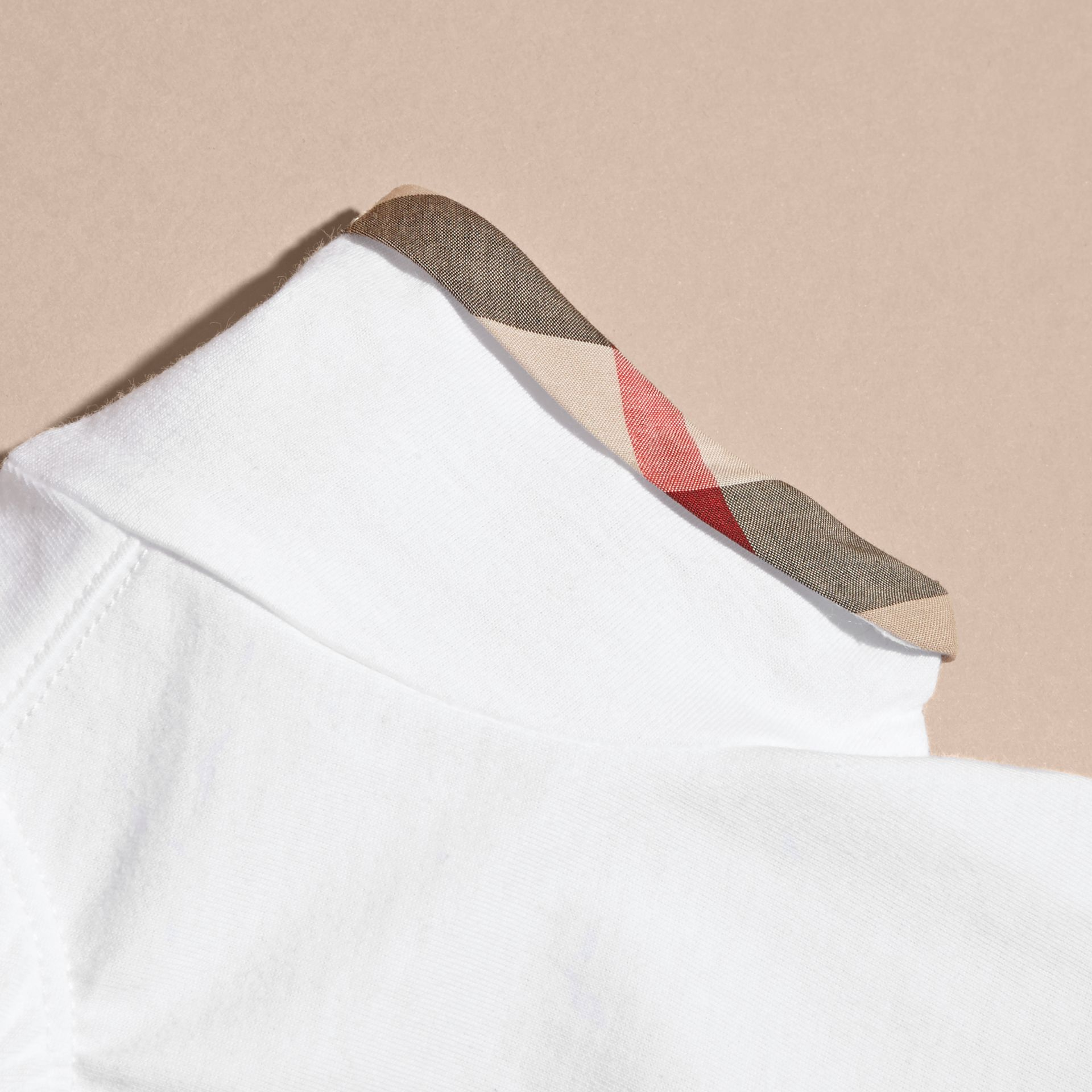 Pleat and Check Detail Cotton T-shirt in White | Burberry - gallery image 2