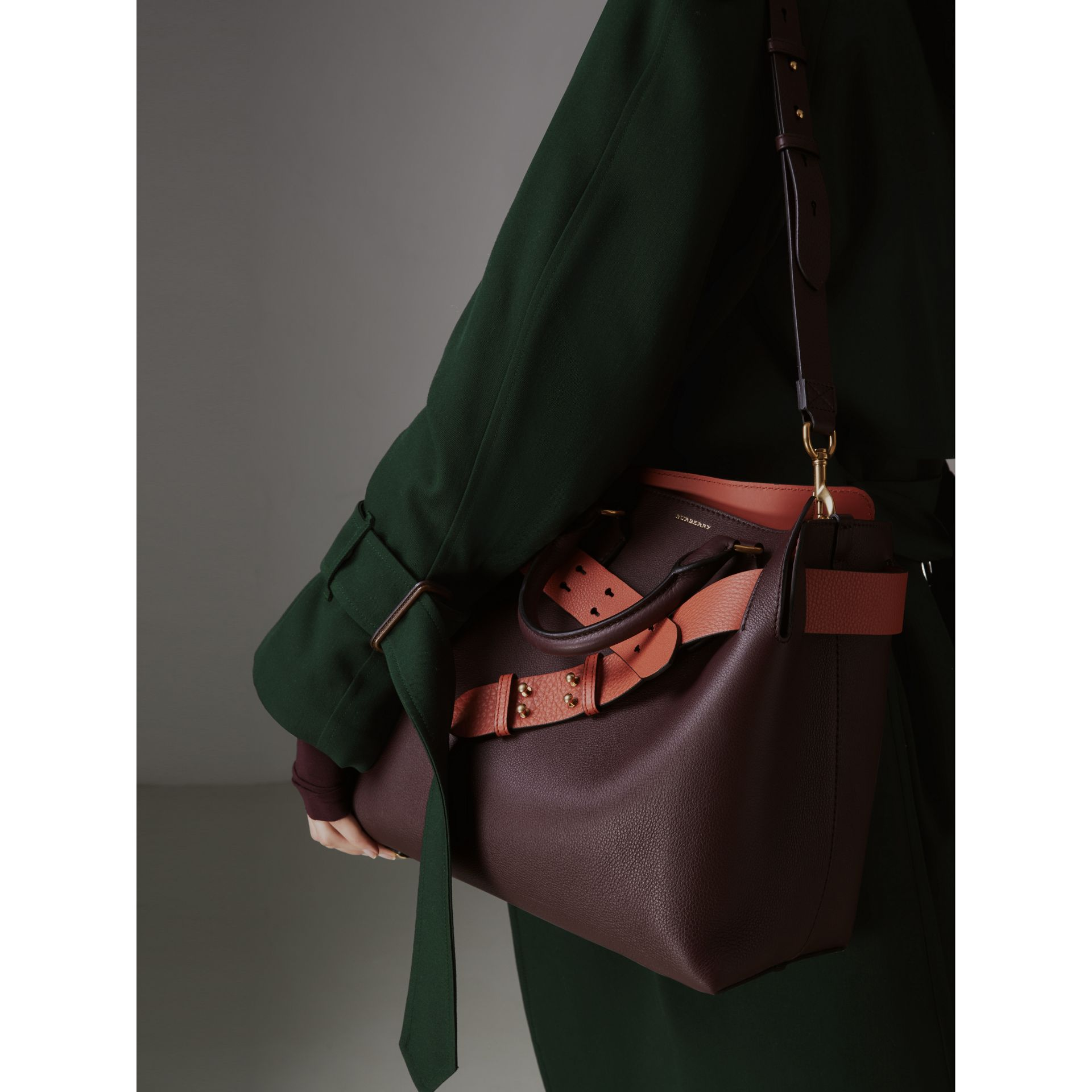 The Medium Leather Belt Bag in Deep Claret - Women | Burberry - gallery image 3