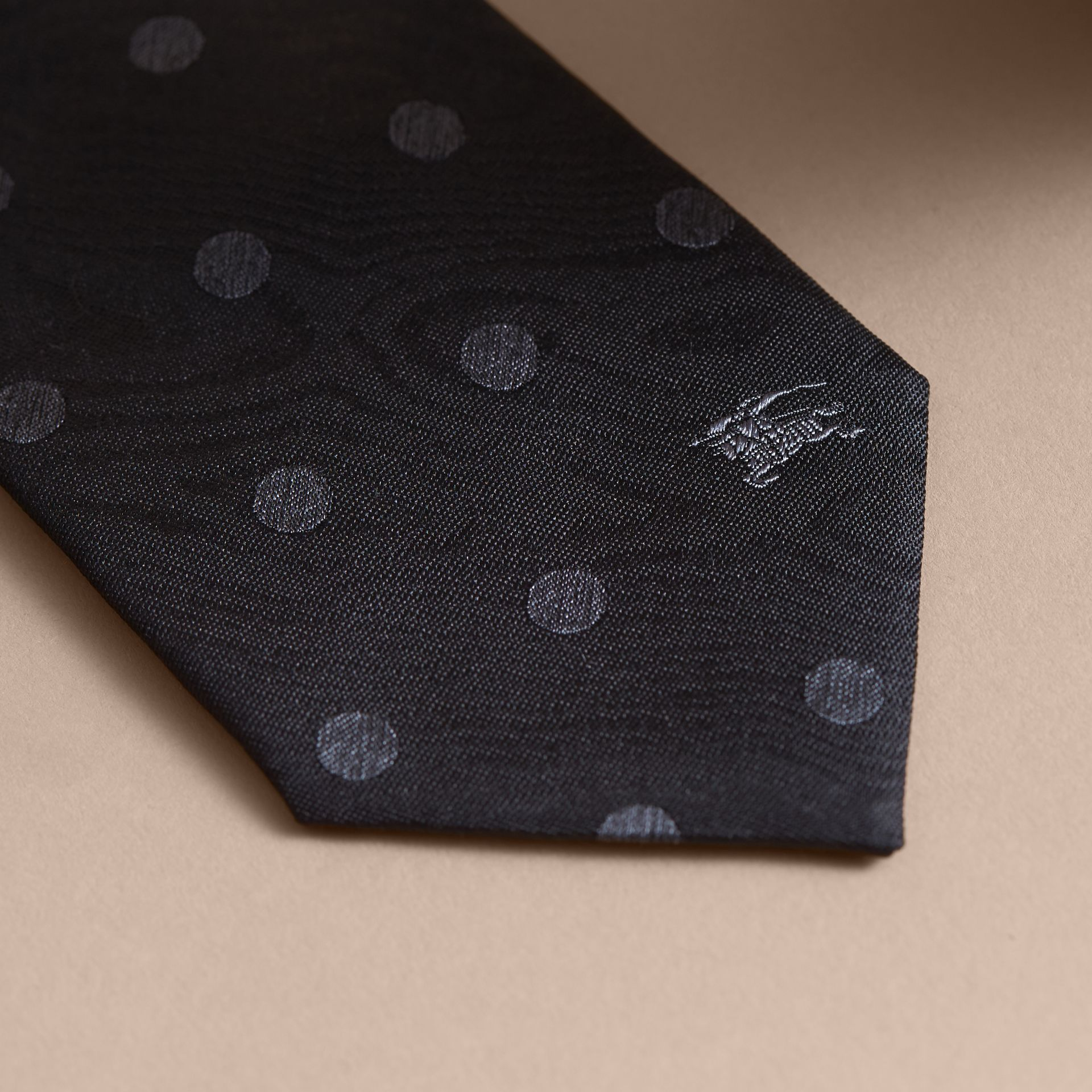 Modern Cut Polka Dot Silk Tie in Black - gallery image 2