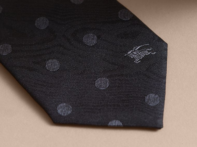 Modern Cut Polka Dot Silk Tie in Black - cell image 1