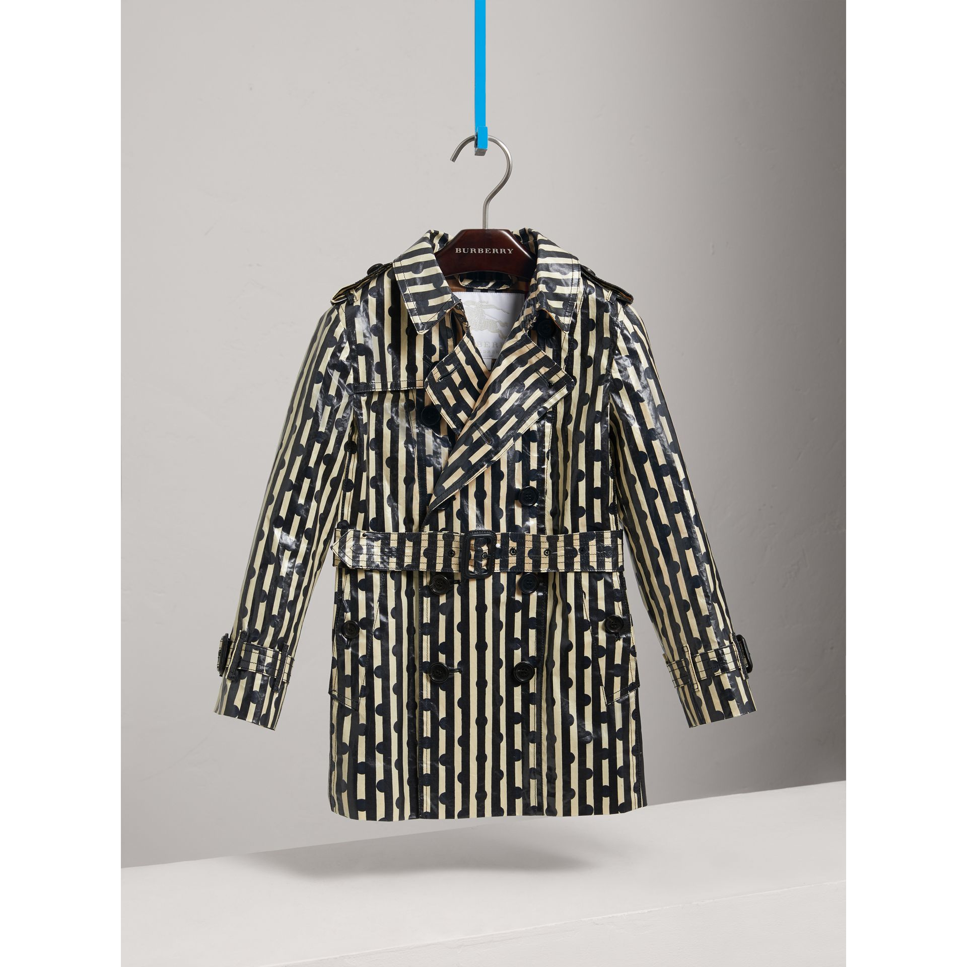 Laminated Spot and Stripe Print Trench Coat in Navy - Boy | Burberry United States - gallery image 2