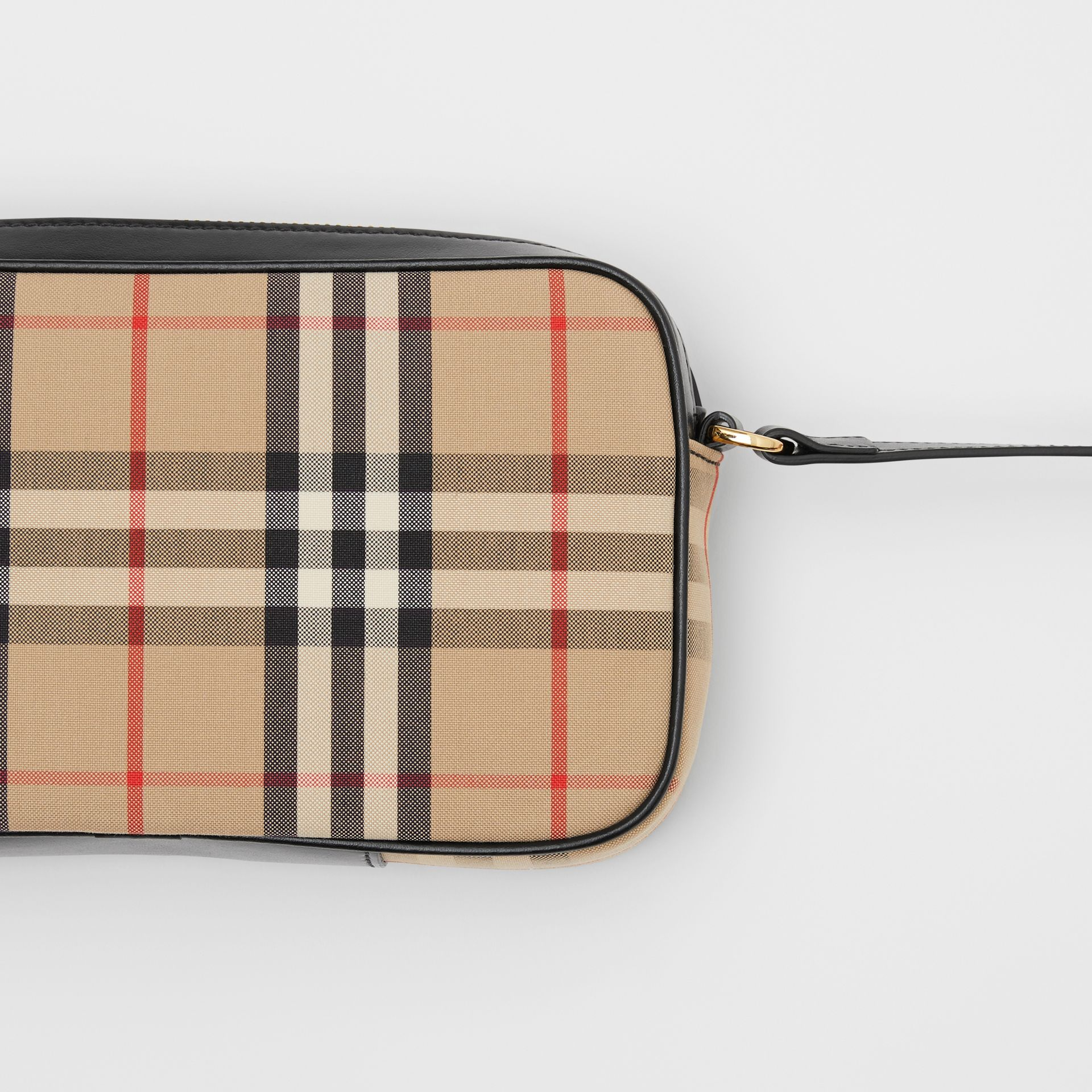 Small Vintage Check and Leather Camera Bag in Archive Beige - Women | Burberry - gallery image 1