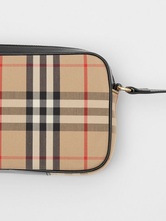 Small Vintage Check and Leather Camera Bag in Archive Beige - Women | Burberry United Kingdom - cell image 1